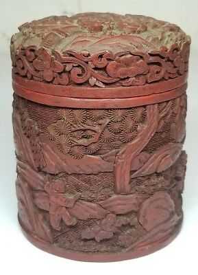 Antique Chinese Carved Cinnabar Red Lacquer Cylinder Box 19th/20th C. Qing