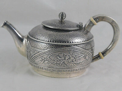 Aesthetic Sterling Teapot Gorham Frollicking Putti on Boat 1880