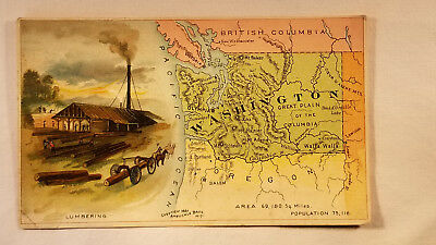 Arbuckles Coffee Card 1892 United States Map Washington