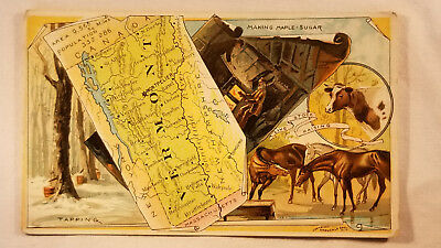 Arbuckles Coffee Card 1892 United States Map Vermont Maple Sugar