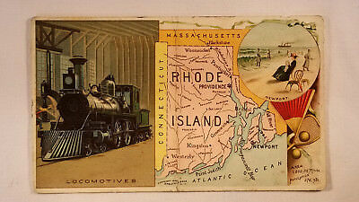 Arbuckles Coffee Card 1892 United States Map Rhode Island Steam Locomotive