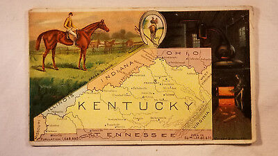 Arbuckles Coffee Card 1892 United States Map Kentucky