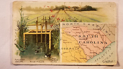 Arbuckles Coffee Card 1892 United States Map South Carolina Rice Fields
