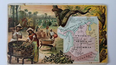Arbuckles Coffee Card 1889 Map United States of Columbia