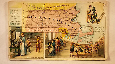 Arbuckles Coffee Card 1892 United States Map Massachusetts