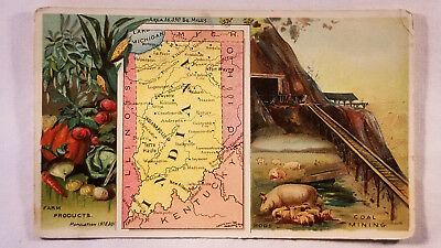 Arbuckles Coffee Card 1892 United States Map Indiana