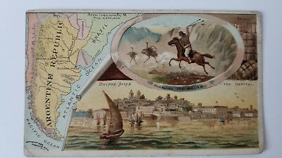 Arbuckles Coffee Card 1889 Map Argentine Republic