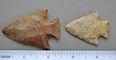 (2) Arrowhead point flint napping Native American Indian relic knife lot j87