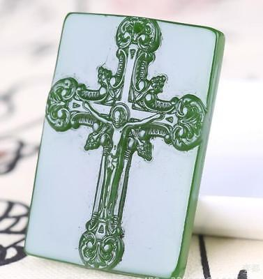 Natur Jade Pendant The cross jade statue Lucky Amulet Hand engraving Collection