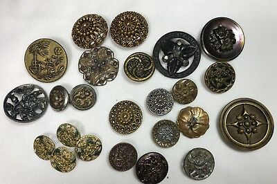 Vintage Antique Button Lot Metal Picture Cut Steels Flowers Sets Singles