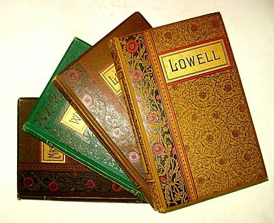1886 Antique POETRY Collection LOWELL WHITTIER BROWNING VICTORIAN FINE BINDING