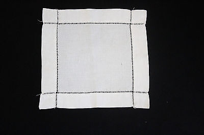 Vintage white linen square cloth with drawn thread work.
