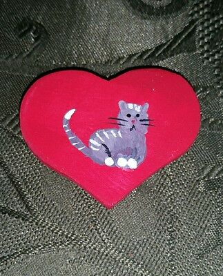Cat Heart Magnet Handmade Hand Painted Wooden Refrigerator Strong New Fun Kitty