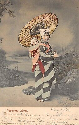 Antique Postcard Japanese Nurse Baby Parasol Undivided Back Tinted Posted 1906