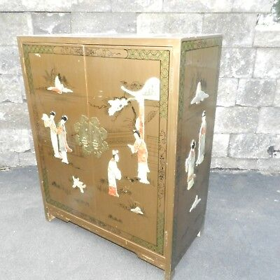 Vtg Mcm Asian Art Deco Cabinet Drawer End Accent Foyer Table Liquor Cabinet