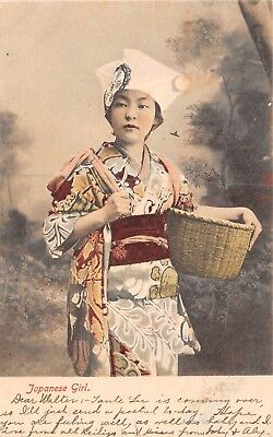Antique Postcard Japanese Girl Undivided Back Tinted Posted 1906