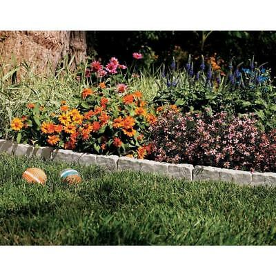 Suncast Border Stone Lawn Garden Poundable Plastic Edging - 10 Feet - Taupe Gray