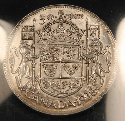 1938 Canada Silver 50 Cents Half Dollar. Better date and grade.