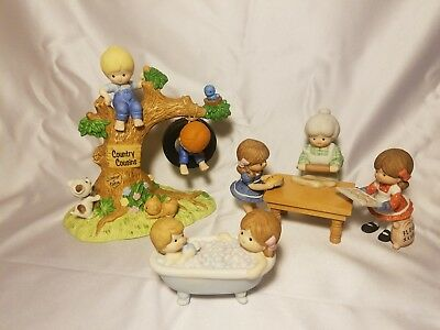 Lot of 5 Vintage Enesco Country Cousins Figurines Scooter, Katie, Sarah, Polly