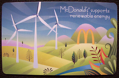 McDonald's,2012,Renewable Energy,Windmills,COLLECTIBLE,NEW GIFT CARD No $ value