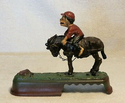 """Book Of Knowledge Mechanical Cast Iron Bank """"ALWAYS DID 'SPISE A MULE"""""""