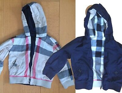 Burberry Children Jacket 3Y Double Sided Navy Blue Nova Check Hooded Kids