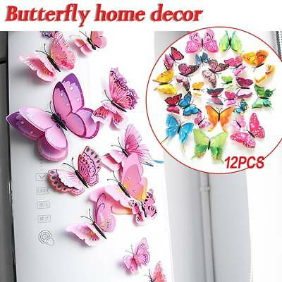 12Pcs 3D Butterfly Fridge Magnets Wall Decal Sticker Kids Art Room Decoration