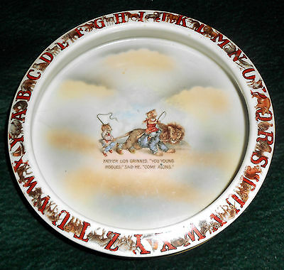 Early 1900s  ABC Father Lion and Cubs Child's Feeding Dish Bowl ~ Germany ~