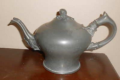 Antique Primitive Early Victorian Pewter Teapot Broadhead & Atkins (1837-1853)