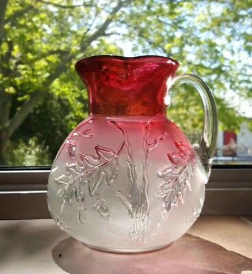 Vintage Or Antique Cranberry To Clear Glass Pitcher With Oak Pattern