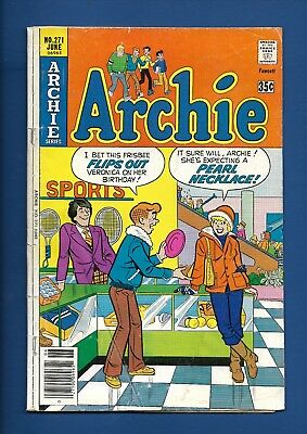 "ARCHIE #271 VG, infamous, classic sexual innuendo ""Pearl Necklace"" cover, 1978"