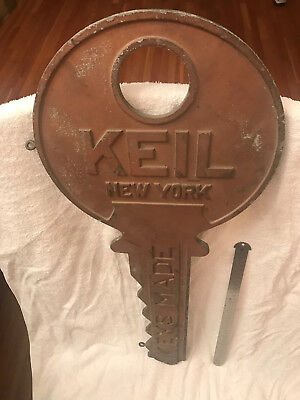 Vintage Keil Key New York double-sided 'Keys Made' trade sign cast aluminum