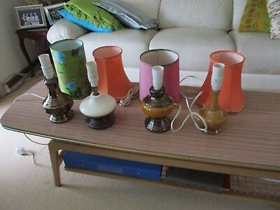 Mid Century Retro Vintage  Lot of 4 Small Ceramic Table Lamps with Mixed Shades