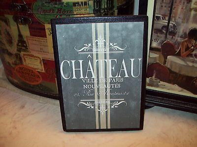 Vintage FRENCH Chateu sign block chalkboard look Shabby Paris chic wall decor