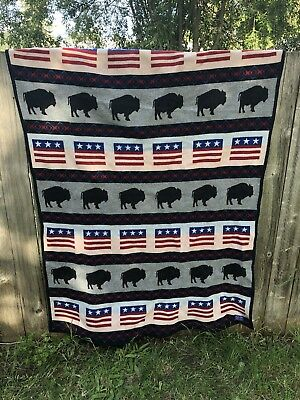 Pendleton USA Buffalo Flag America Patriotic Wool Red Whit Blue Reverse Sided