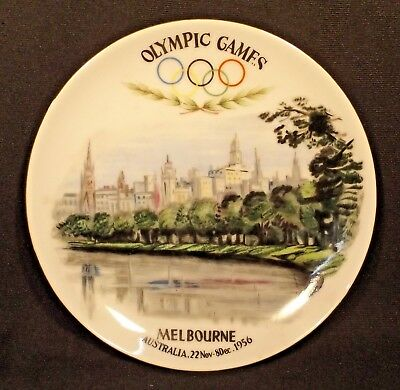 2 1956 Melbourne Olympics Commemorative/souvenir Plates Made In Japan Good Cond.