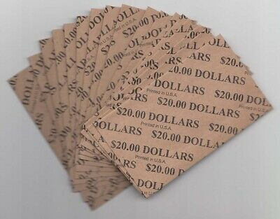 Heavy Duty Flat Coin Wrappers Large Dollar $ Size Bulk Box of 1000 Color Code