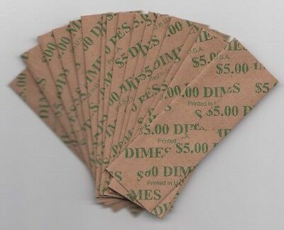 Heavy Duty Flat Coin Wrappers US Dime Size Box of 100 Pop Out Easy Filling $5