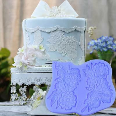 Flower Lace Bouquet Silicone Fondant Mold Cake Leaf Mould Icing Sugarcraft Mat