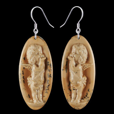 Carved Angel Silver Earring EH900404