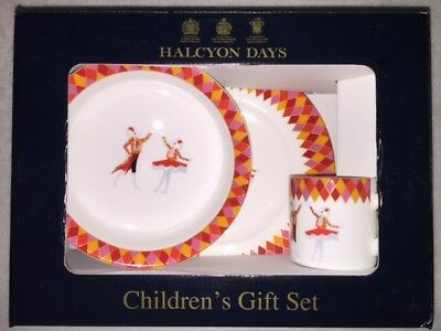 Halcyon Days Child Porcelain Set Bowl Cup Plate Harlequin Harrods Exclusive RARE