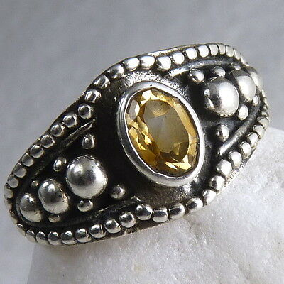 Narrow Granulation Size US 8.75 SilverSari Gem Ring Solid 925 Silver + CITRINE