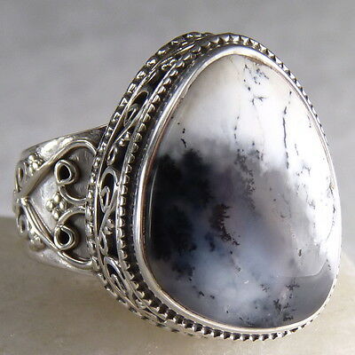 Superb Granulation Ring Size US 8 SILVERSARI Solid 925 Silver & DENDRITIC OPAL