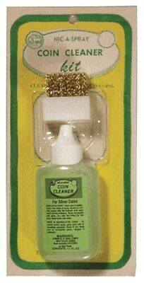 Silver & Gold Coins Cleaner Nic A Spray Clean Kit Fluid Solution Brush & Holder
