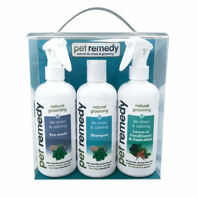 Pet Remedy Grooming Kit 3 x 300ml - De-Stress pre wash shampoo conditioner gift