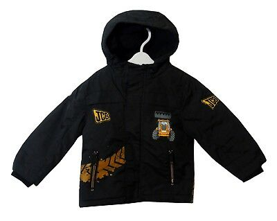Baby Boys Black Joey JCB Digger Tractor Hooded Padded Coat Age 18-24 Months