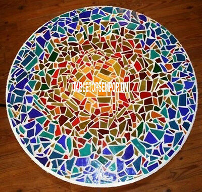 """36"""" Beautiful Outdoor Mosaic Decor White Inlay Marble Multi Stone Dining Table"""