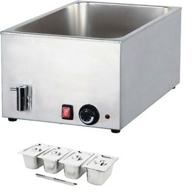 Wet well bain marie with tap hot food sauce warmer with 1/4 gastronorm and lid