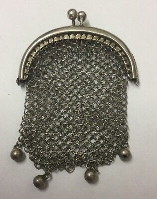 Antique Unmarked Silver Ladies FRENCH Chain Mail Coin Purse / Chatelaine Pendant
