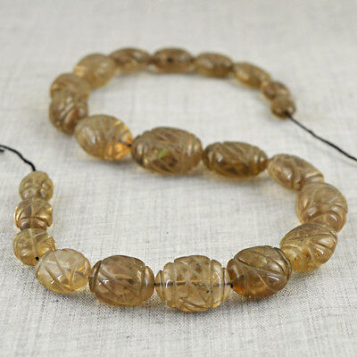 437.00 Cts / 15 Inches Earth Mined Drilled Smoky Quartz Carved Beads Strand